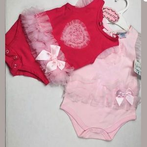 NWT Set of 2 Baby Girl 3-9m.Romper Red Pink suit